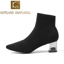 KATELVADI Women Black Ankle Sock Boots Fashion Autumn Winter Stretch 5CM Chunky High Heels Pointed Toe Shoes K-500