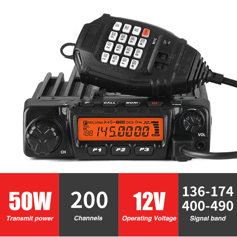 50W Car Mobile Radio 200Channels 12V LCD Communication HF Transceiver Automotive Ham Radio Station TwoWay Radio CB Walkie Talkie