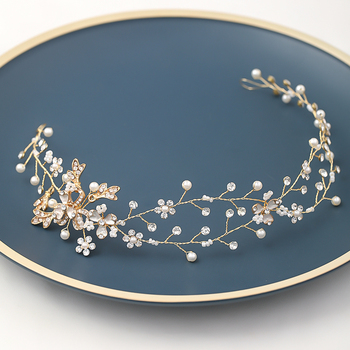Hot Sale Imitation Pearl Crystal Handmade Bridal Hair Accessories Hairpin Tiara Wedding Hairband High Quality Hair Jewelry