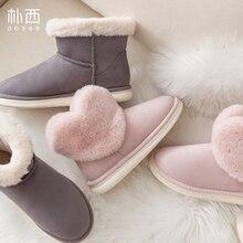 купить POSEE Women Snow Boots Winter Fur Ankle Female Love Style Warmer Plush Suede EVA Flat Slip On Fashion Platform Ladies Shoes 5201 дешево