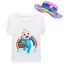 Kids Summer Clothes Baby Girls Cocomelon T Shirts with Bow Skirt   Bag   SunHat 3pcs Sets Children Cartoon Short Sleeves Outfits