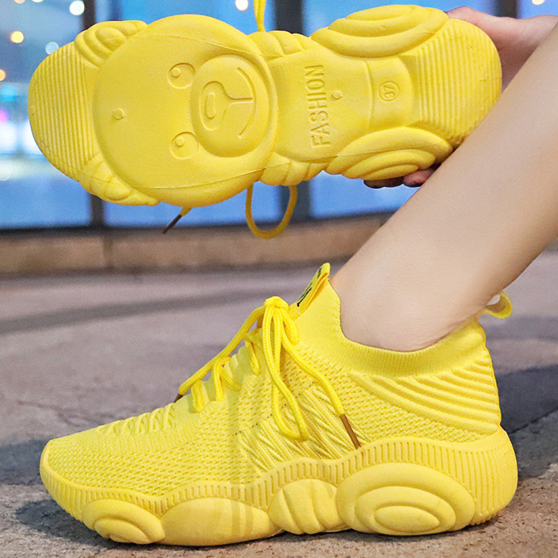 Socks Sneakers Women Casual Vulcanized Shoes Platform Chunky Sneakers Ladies Trainer Lace Up Spring Female Flat Tennis Shoes|Women