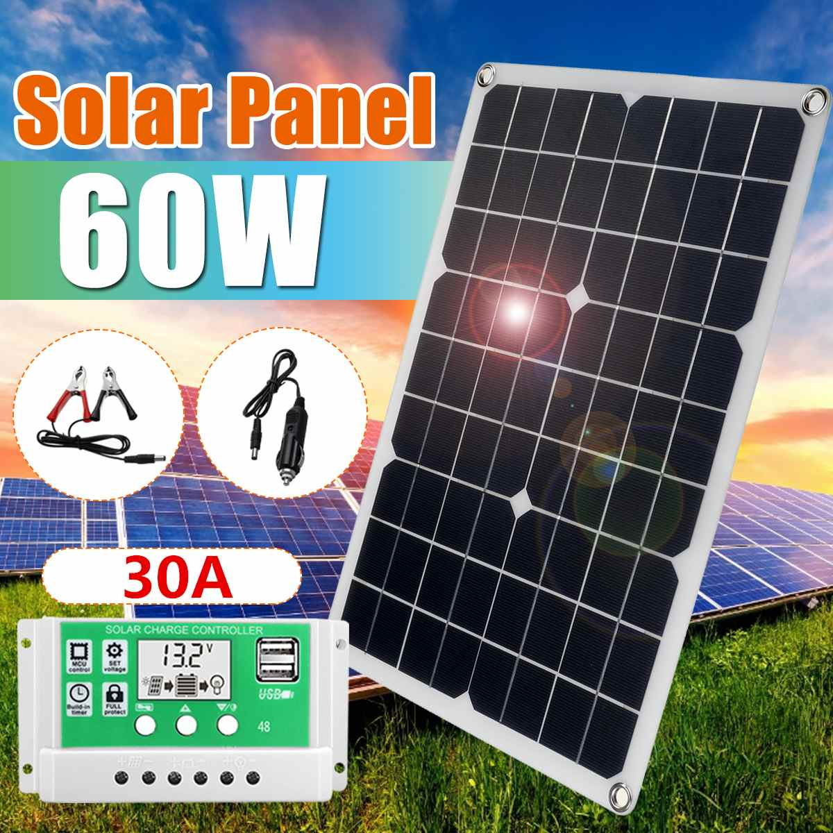60W 18V Folding Solar Panel Dual USB+50A Controller Car Charger For RV Car Boat