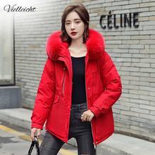 Vielleicht 2020 새로운 한국어 모피 후드 자켓 Parkas 겨울 자켓 여성 의류 짧은 스타일 따뜻한 두꺼운 슬림 겨울 코트 여성