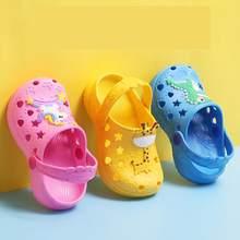 0-7 Years Kids Mules & Clogs Summer Baby Boys Girls Croc Sandals Flat Heels Solid Cartoon Slippers Children's Garden Shoes Y17