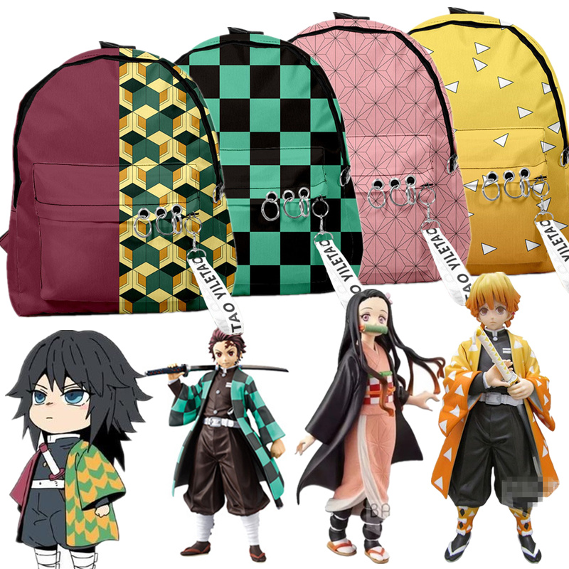 Backpack Demon Slayer: Kimetsu No Yaiba Canvas Bag Tomioka Giyuu School Bags Girls Travel Bag Mochila Feminina Notebook Bags Boy