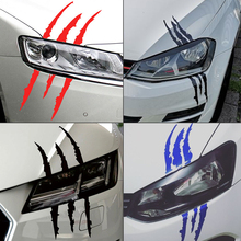 SPEEDWOW Car Sticker Reflective Monster Scratch Stripe Claw Marks Car Auto Headlight Decoration Vinyl Decal Funny Car Stickers treyues 30cmx1 2m 12 x 48 auto car light headlight taillight tint vinyl film sticker easy stick whole car decoration clear