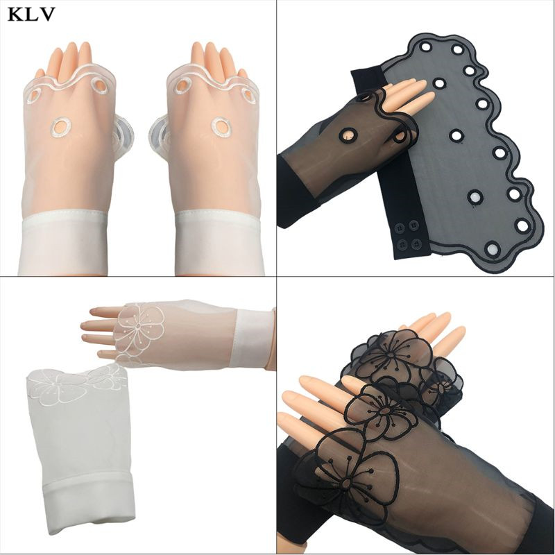 Korean Women Sheer Decorative Horn Cuffs Embroidered Hollow Out Round Floral Patterned Detachable Sweater Fake Sleeve Wrist Warm