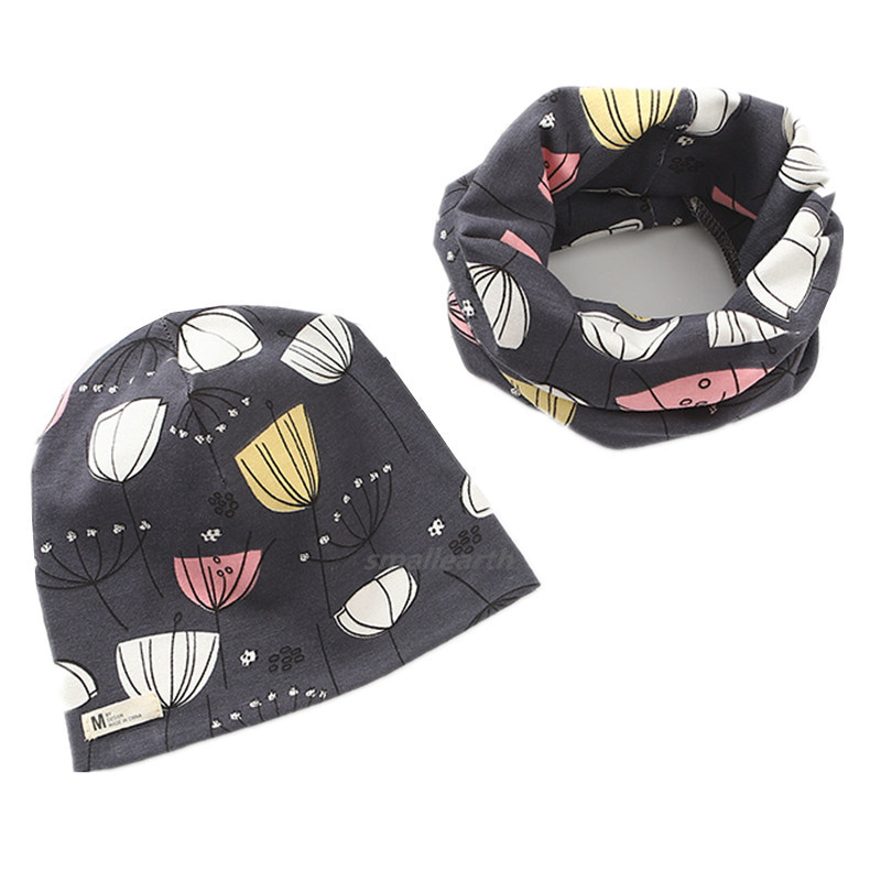 New Winter Baby Cap Set Cartoon Fish Stars Baby Head Cover Spring Warm Neck Collar Kids Beanies Sets Cotton Children Hats Scarf