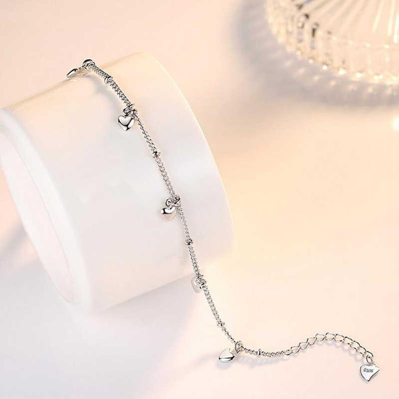 สร้อยข้อมือเงินแท้ 925 สำหรับผู้หญิงห้า Love Heart Charm Silver สร้อยข้อมือ pulseira ของขวัญงานแต่งงาน Lucky เครื่องประดับ Fine