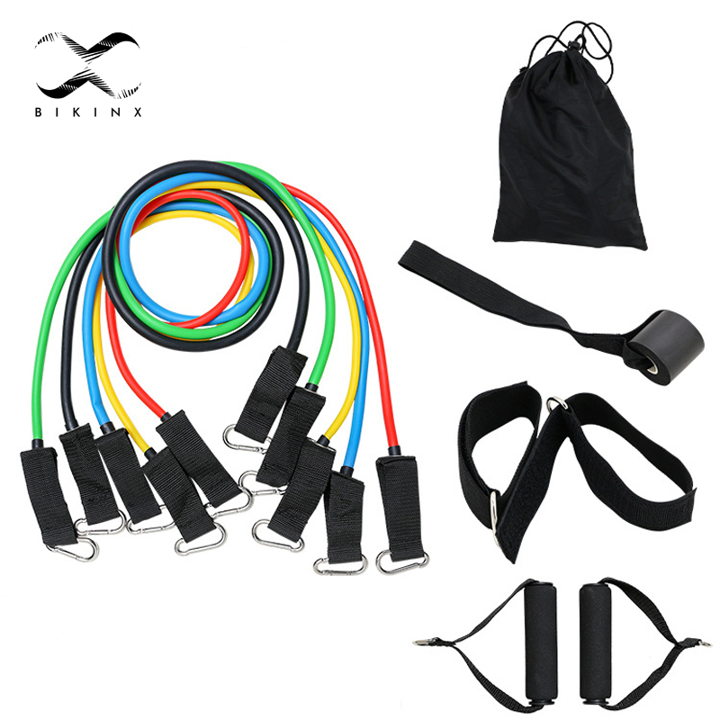11Pcs Resistance Bands Set Expander Yoga Exercise Fitness Rubber Tubes Band Stretch Training Home Gyms Workout Elastic Pull Rope(China)