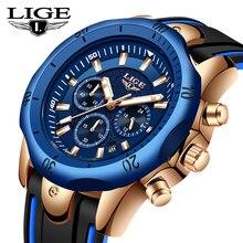 купить LIGE New Silicone Strap Men Watches Fashion Top Brand luxury Business Quartz Watch Men Waterproof Date Clock Relogio Masculino дешево