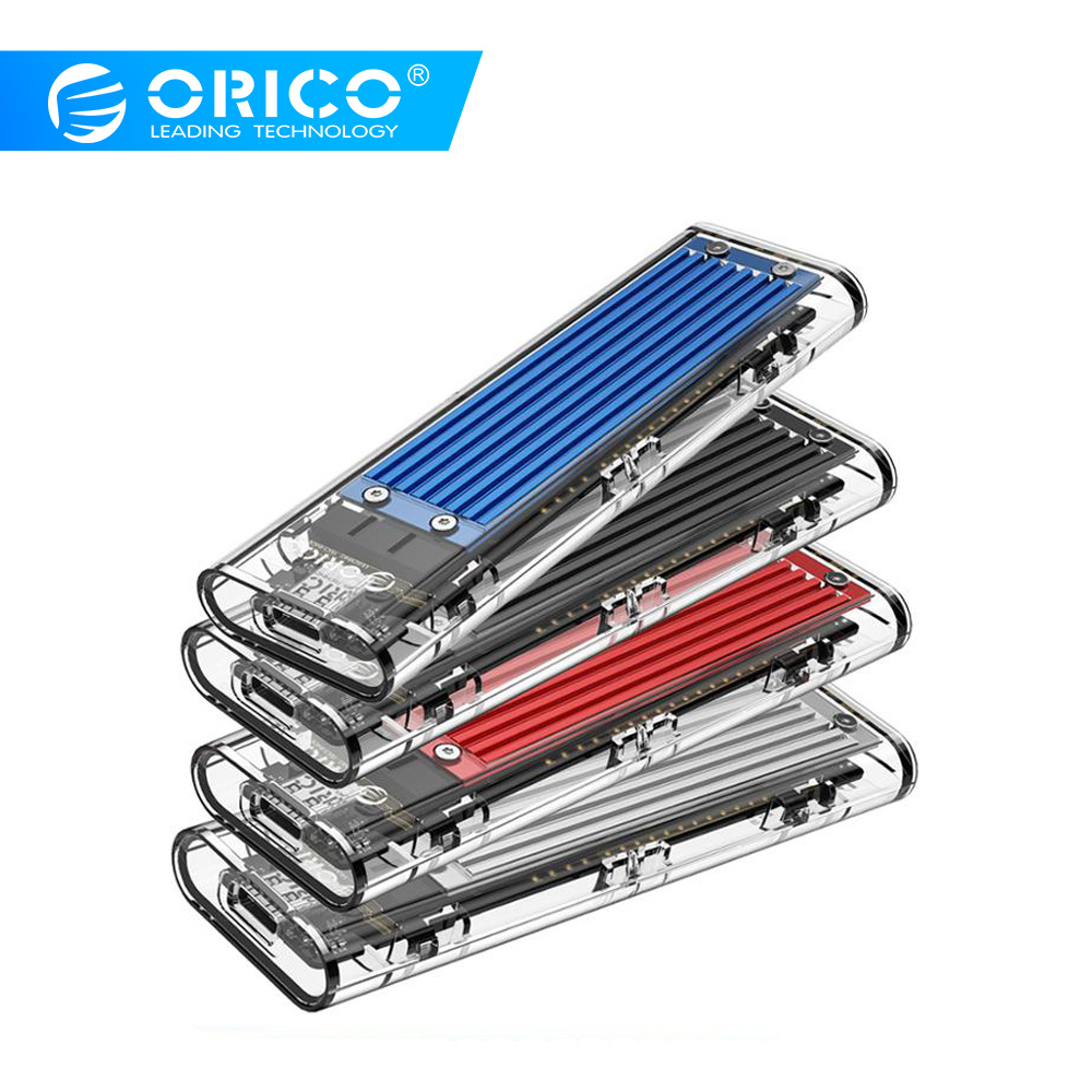Orico m2 ssd caso nvme ssd gabinete m.2 para usb tipo c transparente disco rígido para nvme pcie ngff sata m/b chave ssd disco