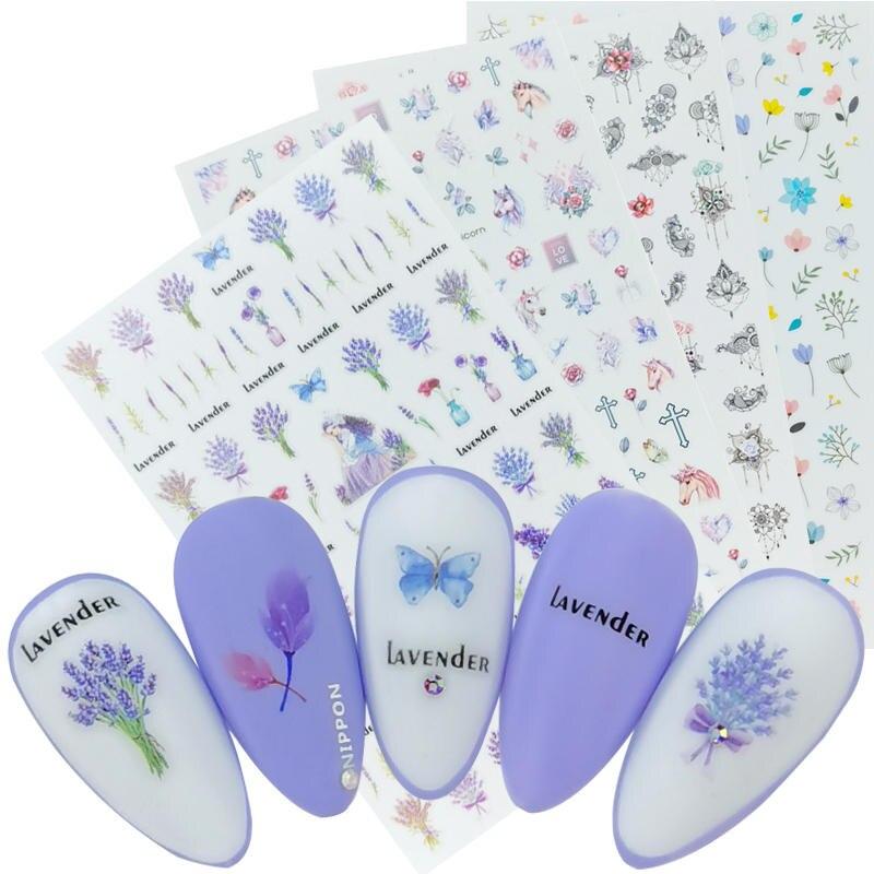 1 лист, 3D наклейки для ногтей, клейкие наклейки, цветы, листья, геометрия, фрукты, десерт, дизайны, слайдеры, тату, маникюрные украшения Стикеры и наклейки      АлиЭкспресс