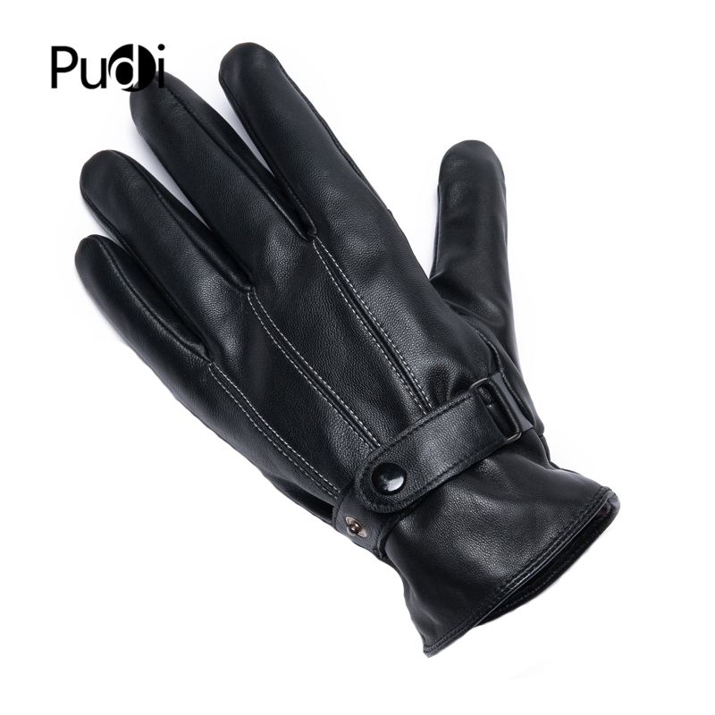 PUDI Men's Genuine Leather Glove 2019 Brand New Real Sheep Leather Fashion Winter Warm Gloves Gl901