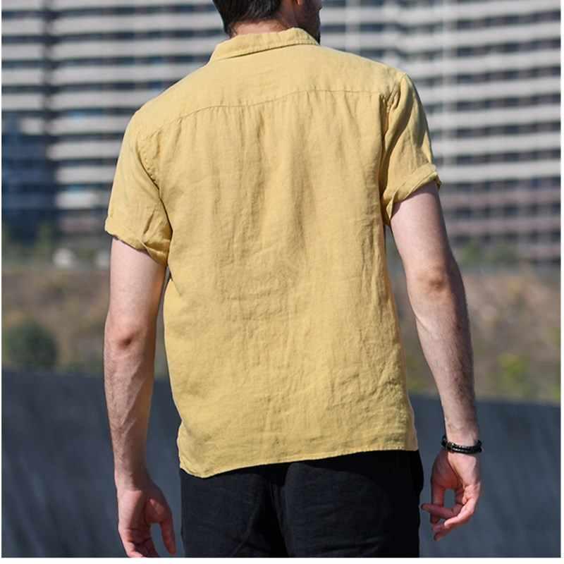 Yaz erkek cep T-shirt Streetwear Baggy pamuk keten katı renk kısa kollu Tee Retro erkekler yarım hırka günlük T-shirt