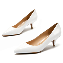Patent Leather Office Woman Pumps Design White Pointed Toe Slip On Lady Shoes Fashion Thin Heel Female Shoes D0090 ladylike women s pumps with patent leather and pointed toe design