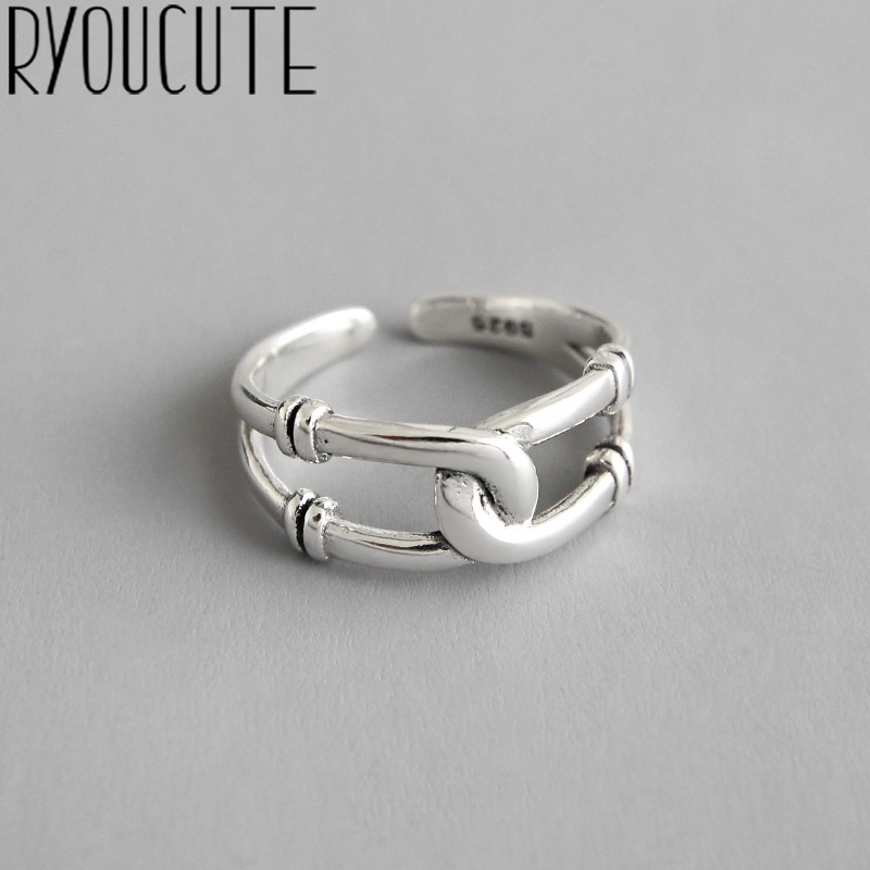 Bohemian Ethnic 925 Sterling Silver Cross Chains Rings For Women Bridal Wedding Vintage Open Finger Rings Christmas Gifts