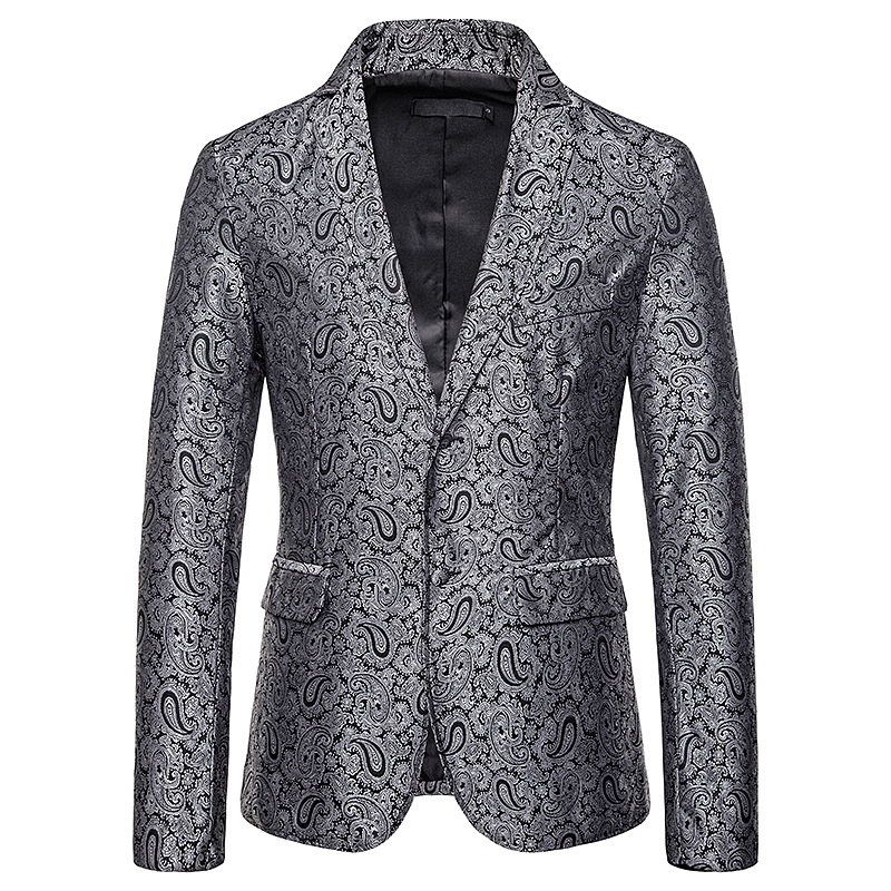 Mens Black Paisley Floral Blazer Jacket 2019 Brand New Slim Fit Suit Jacket Blazers Men Party Wedding Groom Tuxedo Blazer Men