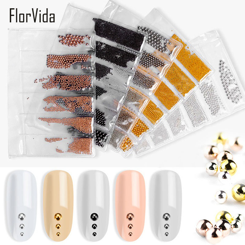 FlorVida 1 pack 6 sizes Steel Beads Golden Silver Mixed Nail Art 3D Decorations Design for Decoration