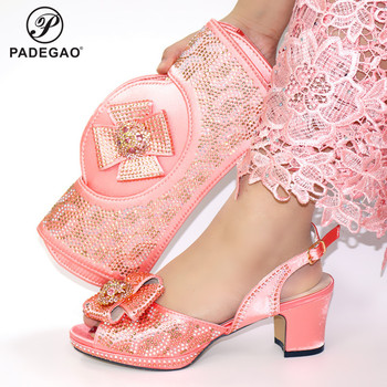 2020 INS Hot Selling Italian Lady Shoes Matching Bag Set Comfortable Heel with Crystal for Garden Party African Lady Shoes