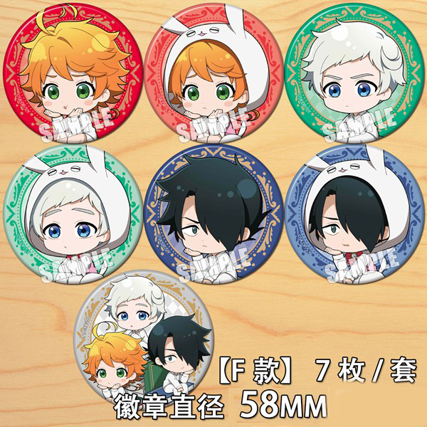 Anime The Promised Neverland Emma Norman Ray Cartoon Bedge Button Brooch Pins Collect Cute Backpacks Pendant Cosplay Decorations