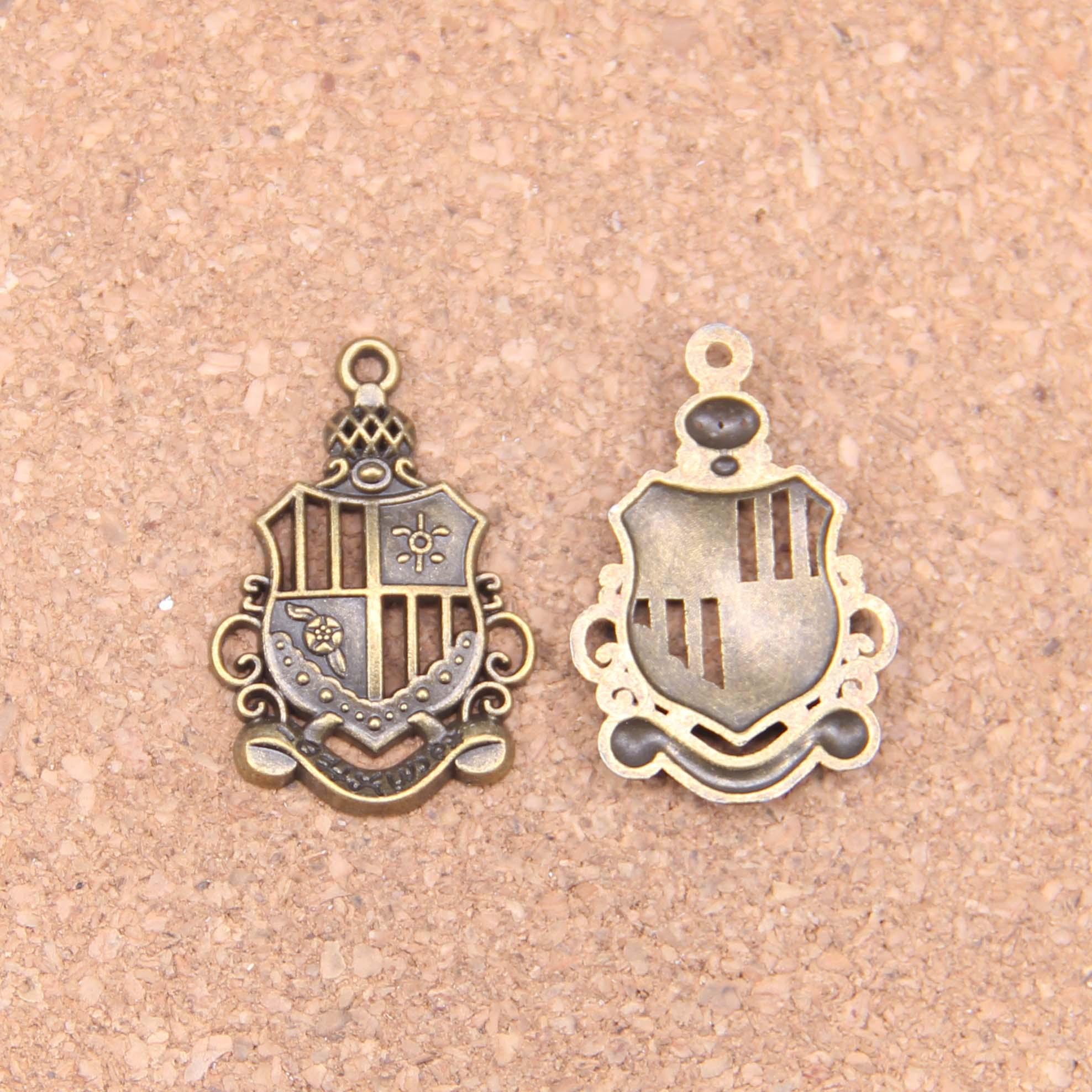 14 pçs encantos império medalha de honra 28x19mm pingentes antigos, jóias de bronze do vintage, diy para pulseira colar