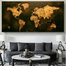 Modern art oil painting World map gold and black canvas oil paintingPosters and prints Family living room Study wall decoration