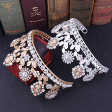 Flower Leaf Wedding Tiara Bridal Hair Accessories Princess Crown Bling Headbands Ornaments Childrens Pearl Headband