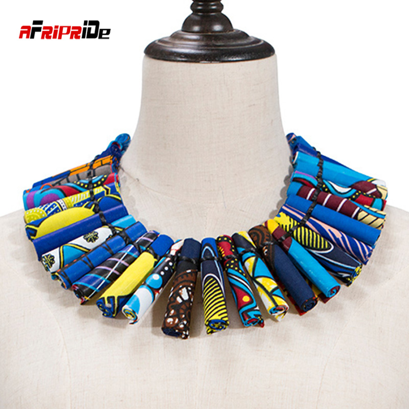 Unique African Women Jewelry Pure Handmade Statement Necklace Africa Printed Wax Fabric Accessories Necklaces 6 Colors WYA30