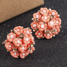 Women Elegant Flower Ceramic Crystal Rhinestone Ear Stud Fashion Earrings Jewelry Christmas Gifts for Women Small Earrings(China)