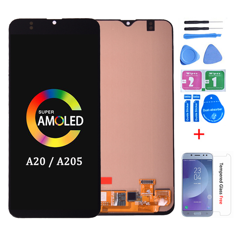 Original 6.4'' Super AMOLED For Samsung Galaxy A20 A205 SM-A205F A205FN LCD Display With Touch Screen Digitizer Assembly