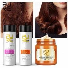 PURC 12% Formalin Brazilian Keratin Treatment+Purifying Shampoo+120ml Hair Mask Hair Straightening Damaged Repair Hair Care Sets