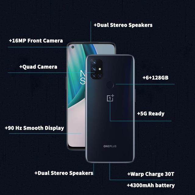 Versão global oneplus nord n10 5g telefone móvel 6.49 polegada 90hz exibição suave 6gb 128gb snapdragon 690 64mp quad camera nfc 2
