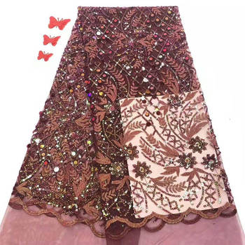 Latest style African Sequins Lace Fabric 2020 High Quality Lace French Sequence Tulle Lace Nigerian Lace Fabrics For Wedding