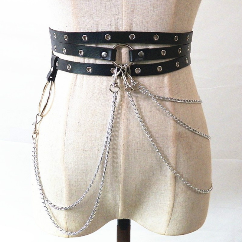 Sexy Pub Female Leather Skirt Belts Punk Gothic Rock Harness Waist Metal Chain Body Bondage Hollow Belt Accessories for Lady