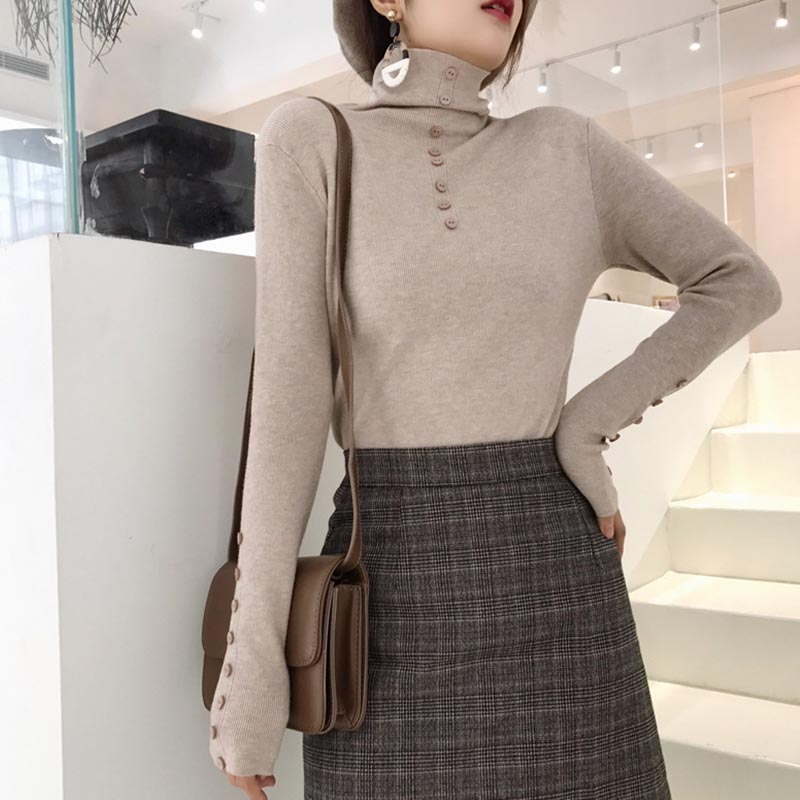 Autumn Winter New Slim Solid Color Women Sweater Fashion Trend Button Turtleneck Long Sleeve Knit Pullover