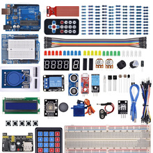 Kit de démarrage pour Arduino Uno R3 platine de prototypage/capteur à ultrasons/Servo /1602 LCD/fil de cavalier/UNO R3 avec tutoriel