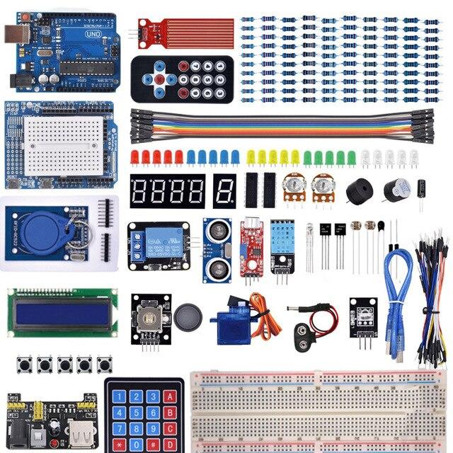 Startowy zestaw do Arduino Uno R3 deska do krojenia chleba/ultradźwiękowy/czujnik ultradźwiękowy/serwo/1602 LCD/kabel mostkujący/UNO R3 z samouczka