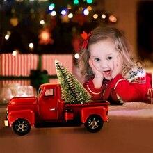 Rantion navidad niños regalo Vintage camión rojo Metal camión con rueda móvil niños regalo Mesa decoración superior