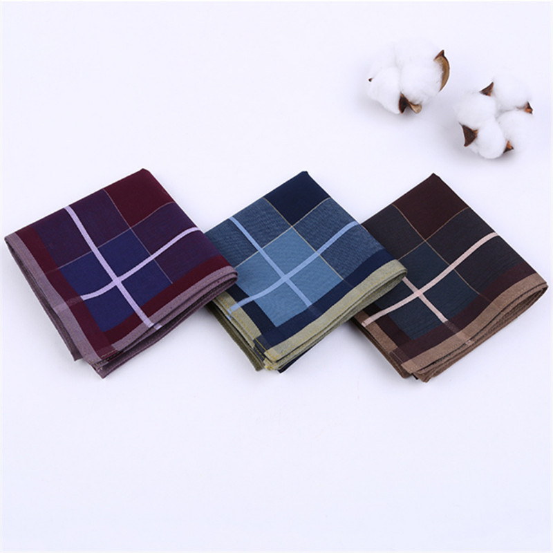 1pcs Dark Colorful Cotton Handkerchiefs Woven Printing Plaid Pocket Square Mens Casual Streak Square Pockets Handkerchief Towels