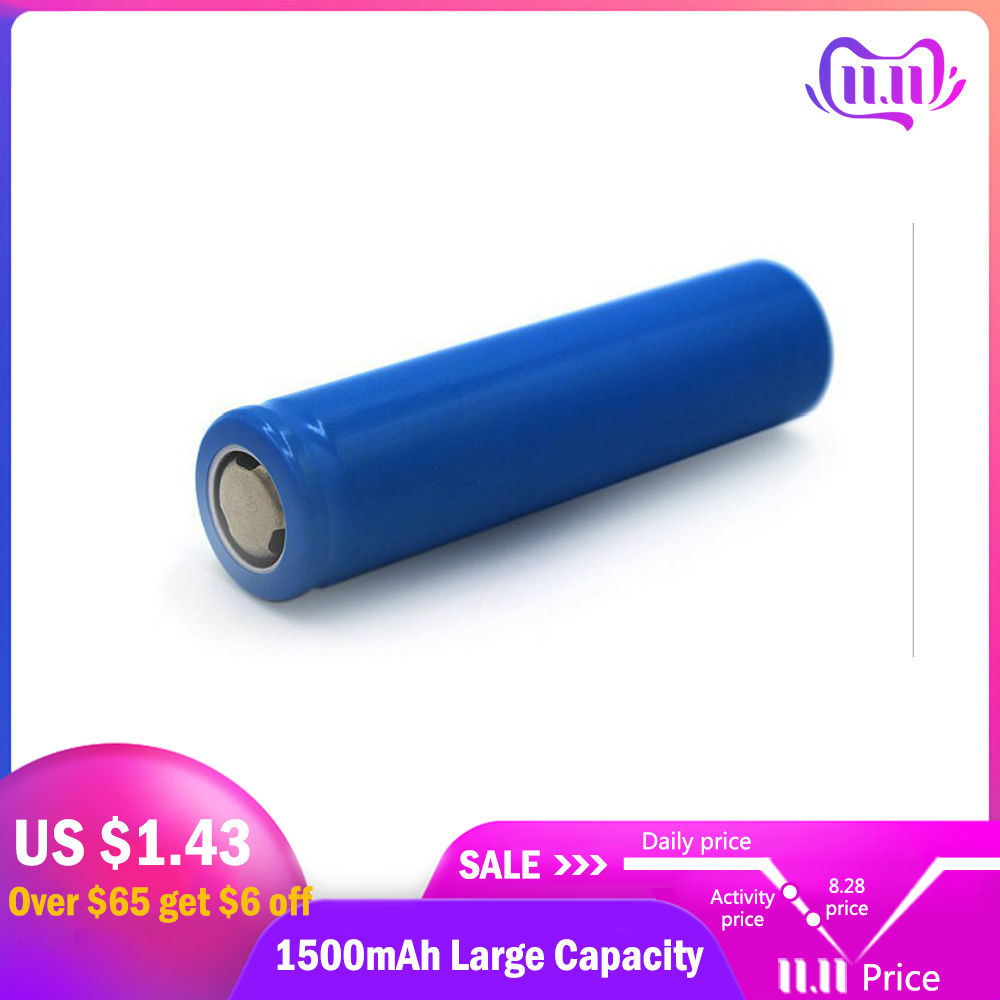 Lithium Battery 3.7V Large Capacity Lithium Rechargeable Battery For Portable Fans Batteries Operated 1PCs 1500mAh 18650