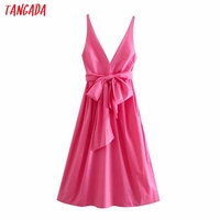 Tangada Women Pink Cotton Dress Back Bow Sleeveless Backless 2021 Summer Fashion Lady Dresses 3H130 1