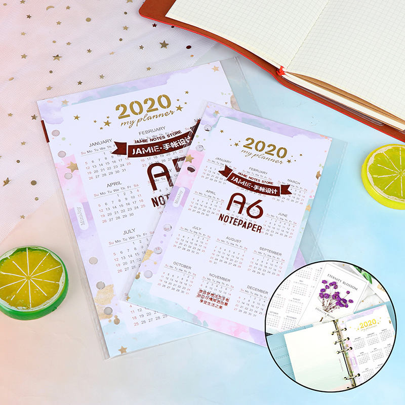 2020 Year Calendar Index Dividers Watercolor Refill For 6 Hole Loose-leaf A5 A6 Binder Spiral Notebook Diary School Stationery