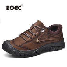 Natural Cow Leather Men Boots Outdoor Spring Autumn Men Shoes Comfortabl Lace Up Waterproof Rubber Sole Ankle Boots Shoes цена