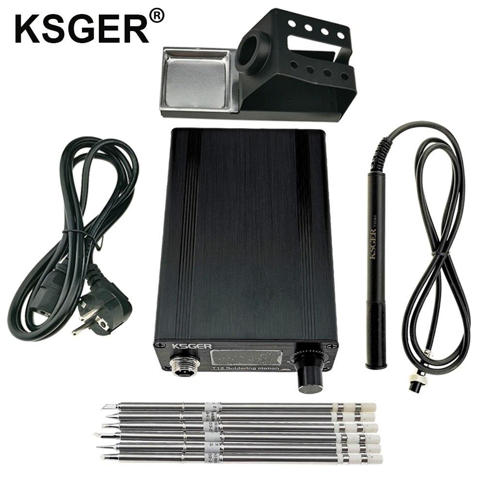 Паяльная станция KSGER T12 OLED STM32 V2.1S, контроллер «сделай сам», наконечники для железа T12, сварочные комплекты, подставка с держателем из АБС-плас...