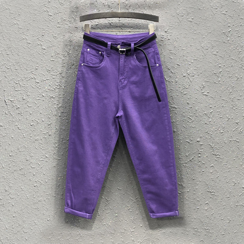 2020 Spring Summer New Korea Fashion Candy Color Loose Denim Harem Pants All-matched Casual Women Purple Jeans Plus Size S922