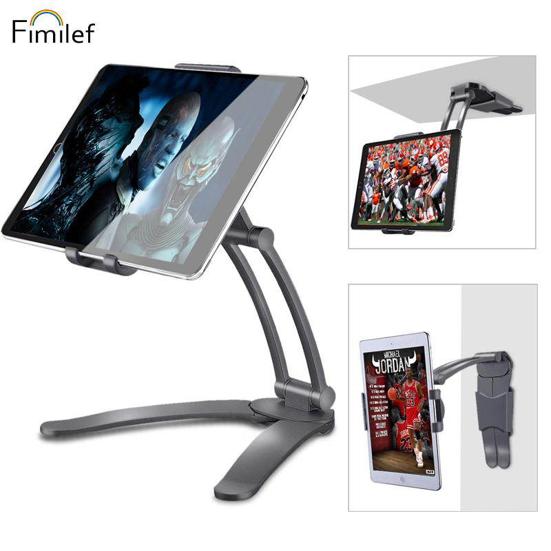 Fimilef 2-in-1 Kitchen Tablet Stand Wall Mount / Under Cabinet Holder Perfect For Recipe Reading On Countertop Or Using