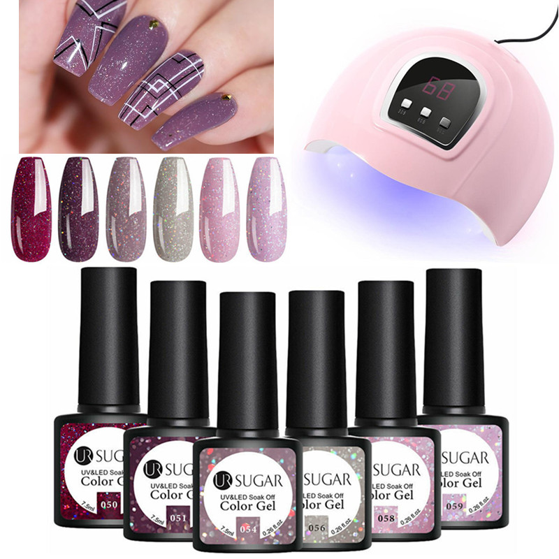 UR SUGAR 6Pcs Color Nail Gel Polish Set With UV Lamp Nail Dryer Curing Gel Polish Vernis Semi Permanent Soak Off Gel Varnish Kit
