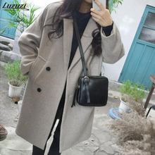 Luzuzi New Women Autumn Woolen coat Warm Long Sleeve Turn-down Collar Outwear Women Jacket 2020 Winter Casual Elegant Overcoat cheap Polyester CN(Origin) 5721 winter wool coat Ages 18-35 Years Old Double Breasted Regular Full Slim Wool Blends Button Pockets